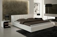 lit contemporain design en cuir italien de luxe smiley, blanc, 160x200
