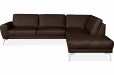 canapé d'angle en 100% tout cuir italien de prestige 6/7 places spania, chocolat, angle droit