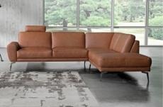 canapé d'angle en 100% tout cuir italien de prestige 6/7 places spania, marron cognac, angle droit