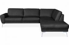 canapé d'angle en 100% tout cuir italien de prestige 6/7 places spania, noir, angle droit