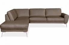 canapé d'angle en 100% tout cuir italien de prestige 6/7 places spania, taupe vers le moka, angle gauche