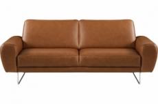 canapé 2 places en 100% tout cuir italien de prestige, spencer, marron cognac