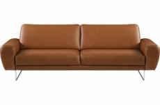 canapé 3 places en 100% tout cuir italien de prestige, spencer, marron cognac