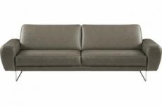 canapé 3 places en 100% tout cuir italien de prestige, spencer, gris