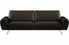 canapé 3 places en 100% tout cuir italien de prestige, spencer, noir