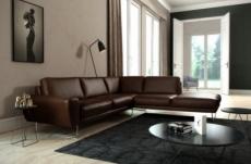 canapé d'angle en 100% tout cuir italien de prestige 6/7 places spencer, chocolat, angle droit