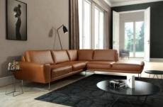 canapé d'angle en 100% tout cuir italien de prestige 6/7 places spencer, marron cognac, angle droit