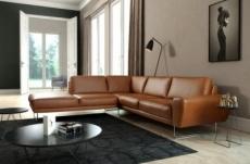 - canapé d'angle en 100% tout cuir italien de prestige 6/7 places spencer, marron cognac, angle gauche