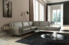 canapé d'angle en 100% tout cuir italien de prestige 6/7 places spencer, gris, angle droit