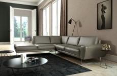 canapé d'angle en 100% tout cuir italien de prestige 6/7 places spencer, gris, angle gauche