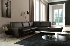 canapé d'angle en 100% tout cuir italien de prestige 6/7 places spencer, noir, angle droit