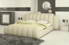lit design en cuir italien de luxe splendide, ecru, 140x190, avec sommier à lattes