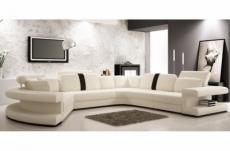 canapé d'angle en cuir italien 7/8 places star, blanc et noir, angle droit