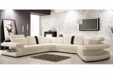 canapé d'angle en cuir italien 7/8 places star, blanc et noir, angle gauche