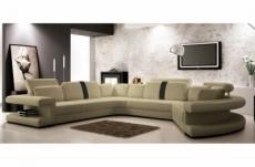 canapé d'angle en cuir italien 7/8 places star gris clair et gris foncé, angle gauche