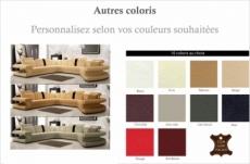 canapé d'angle en cuir italien 7/8 places star, couleur personnalisée, angle gauche
