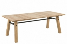 table à manger steffie, plaqué chêne sauvage brossé et laqué