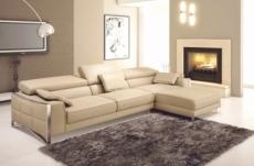 canapé d'angle en cuir italien 5 places suede, beige.
