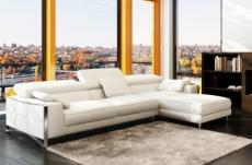 canapé d'angle en cuir italien 5 places suede, blanc.