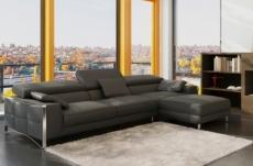 canapé d'angle en cuir italien 5 places suede, gris foncé