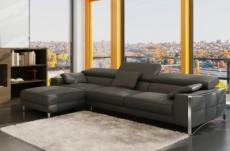 - canapé d'angle en cuir italien 5 places suede, gris foncé