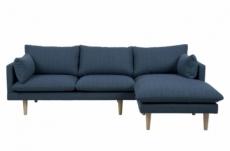 canapé d'angle en tissu de qualité sundo, bleu, angle droit