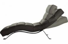 chaise longue réglable multipositions, en cuir de luxe italien, sweet, gris foncé