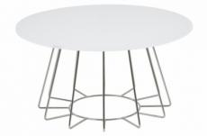 table basse design, plateau de verre blanc, hauteur réglable, casini