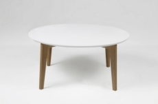 table basse design nordique, ronde, ipso, blanche