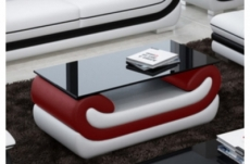 superbe table basse candide, bordeaux et blanc