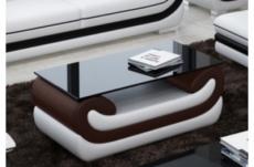 superbe table basse candide, chocolat et blanc