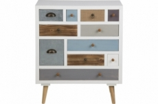 commode tandy, bois blanc, 11 tiroirs