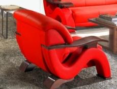 fauteuil 1 place en cuir supérieur luxe haut de gamme italien tentation, rouge