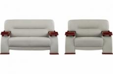 ensemble composé d'un canapé 2 places et d'un fauteuil en cuir luxe haut de gamme, tentation. gris clair