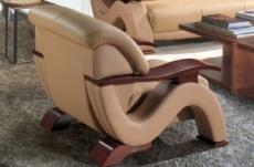 fauteuil 1 place en cuir supérieur luxe haut de gamme italien tentation, beige