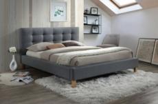 lit double en tissu de qualité teresa, gris, avec sommier à lattes, 140x200