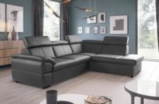 canapé d'angle convertible en cuir italien de luxe 5/6 places tony, avec coffre, gris foncé, angle droit