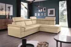 canapé d'angle en cuir italien de luxe 5/6 places tonus, beige, angle droit