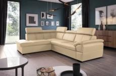 - canapé d'angle en cuir italien de luxe 5/6 places tonus, beige, angle gauche