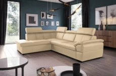 canapé d'angle convertible en cuir italien de luxe 5/6 places tony, avec coffre, beige, angle gauche
