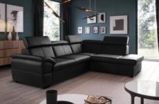 canapé d'angle en cuir italien de luxe 5/6 places tonus, noir, angle droit