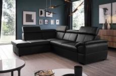 canapé d'angle en cuir italien de luxe 5/6 places tonus, noir, angle gauche