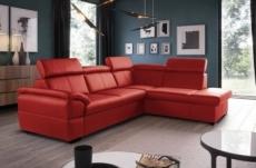 canapé d'angle en cuir italien de luxe 5/6 places tonus, rouge, angle droit