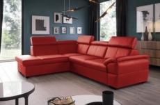 canapé d'angle convertible en cuir italien de luxe 5/6 places tony, avec coffre, rouge, angle gauche