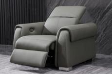 fauteuil 1 place avec 1 relax électrique en cuir italien buffle toprelax, gris foncé