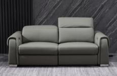 canapé 2 places avec 2 relax électriques en cuir italien buffle toprelax, gris foncé