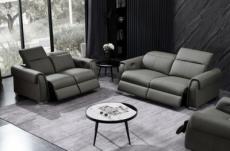 ensemble avec 4 relax électriques, canapé 3 places et 2 places en cuir italien buffle toprelax, gris foncé