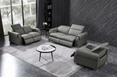 ensemble avec 5 relax électriques; canapé 3 places et 2 places et fauteuil 1 place en cuir italien buffle toprelax, gris foncé