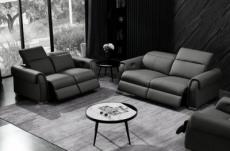 ensemble avec 4 relax électriques, canapé 3 places et 2 places en cuir italien buffle toprelax, couleur noir
