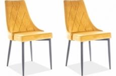 lot de 2 chaises trianon en tissu velours de qualité, couleur curry